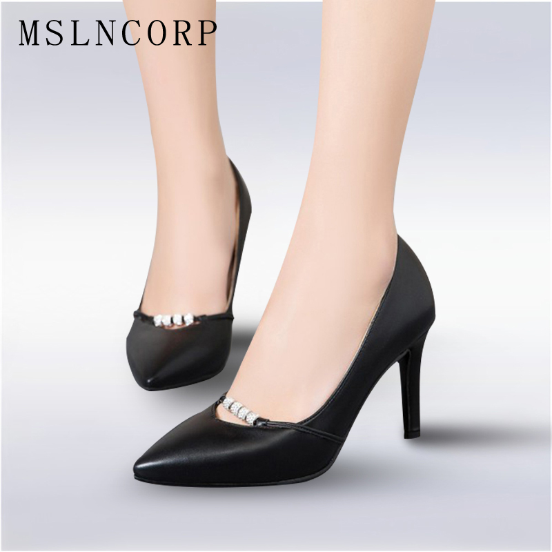 Plus Size 34-43 New Fashion Woman Sexy Pumps black white Office Career Women Shoes Pointed Toe Thin High Heels Dress Party Shoes plus big size 34 47 shoes woman 2017 new arrival wedding ladies high heel fashion sweet dress pointed toe women pumps a 3