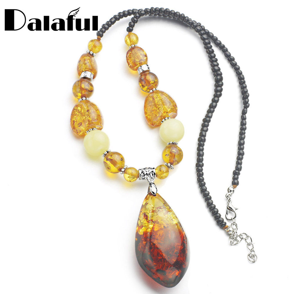 Amazing Tear Drop Baltic Created Beads Chain Bib Pendant Necklace For Women's Girls Statement L61101