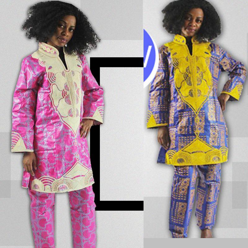 H & D 2017 Ny design Afrikanska byxor kostym bazin riche för kvinnor - Nationella kläder