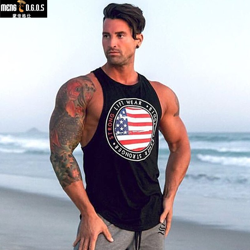 2018 New Brand Gorilla Wear Muscle cotton   Tank     Tops   For Men Print Sleeveless gyms Stringer Fashion   Tank     Tops   Male