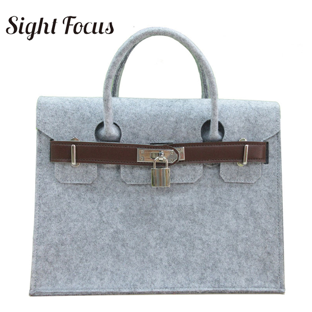 Sight Focus Brand Designer Handbag Felt Tote Bag Classic Handle Lock Bags Business Solid Grey Wool