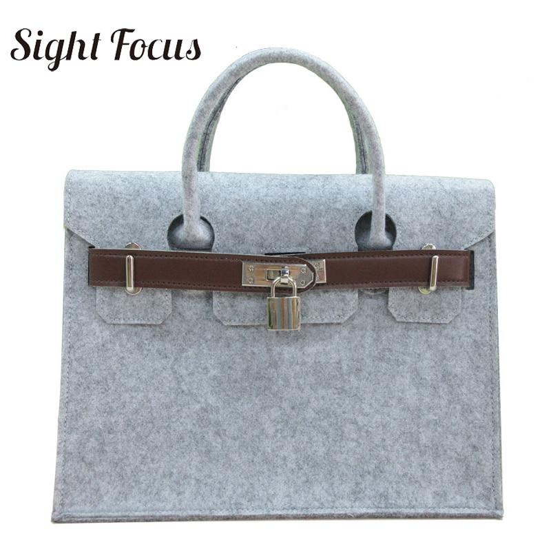 Sight Focus Brand Designer Handbag Felt Tote Bag Classic Handle Lock Bags Business Solid Grey Wool Flap Ladies Handbags
