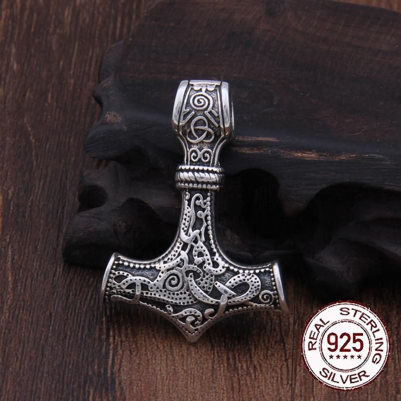 Réel 925 Sterling Argent Thor Marteau Mjolnir Viking de foulard Amulette Scandinave pendentif collier Nordique Hommes Bijoux