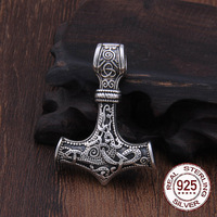 Real 925 Sterling Silver Thor Hammer Mjolnir choker Viking Amulet Scandinavian pendant necklace Norse Men Jewelry