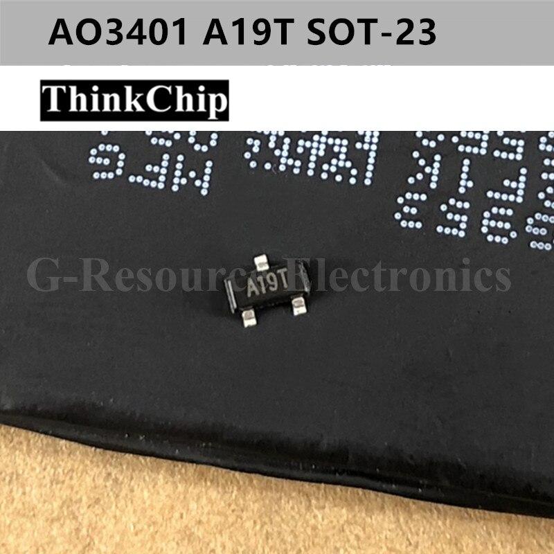 Free Shipping 50 Pcs / Lot AO3401 SOT-23 A19T P-Channel -30V -4A (Ta) 1.4W (Ta) SMD Mosfet Transistor New Original