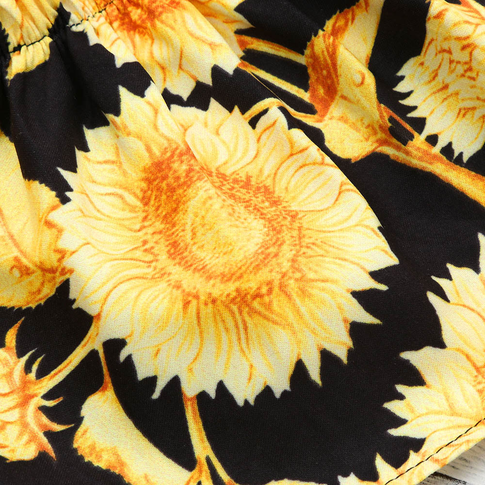 Popular Fashion Newborn Baby Girl Sunflower Off Shoulder Blouse Tops Mom N Bab Sweater Orange Fox Height100cm