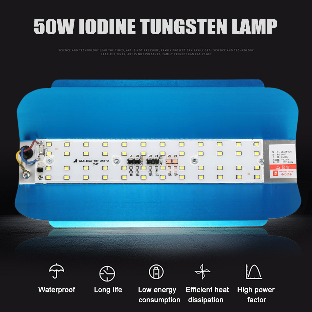 50W LED Iodine Tungsten Lamp Flood Light High Bay Waterproof Outdoor Lamp 180-240V CLH@8