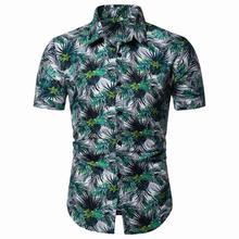 Men Blouse Mens clothing Hawaiian Style Casual Shirt Floral Short Sleeve Flower Shirts Summer New