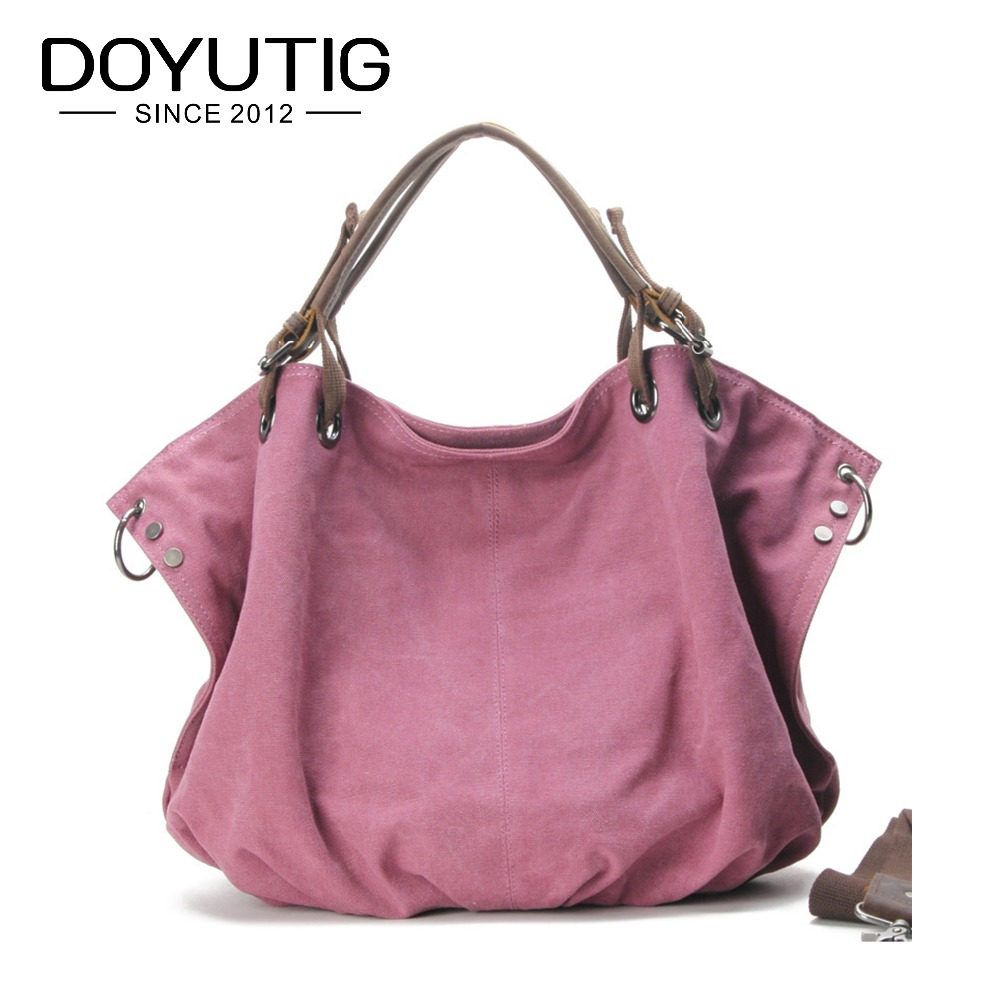 High Quality Pink Canvas Women Handbag Casual Large Capacity Hobos Bag Hot Sell Female Totes Solid Canvas Shoulder Bags G050 2017 fashion canvas women handbag hot sell female tote bolsas trapeze ruched solid shoulder bag casual large capacity tassel bag