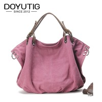 High Quality Pink Canvas Women Handbag Casual Large Capacity Hobos Bag Hot Sell Female Totes Solid Canvas Shoulder Bags G050