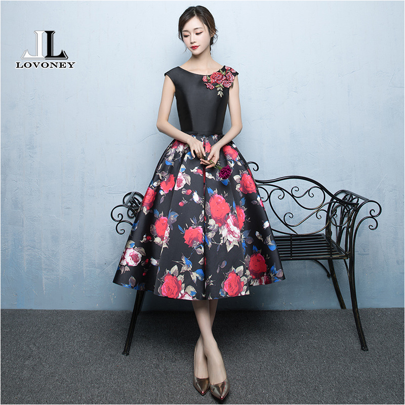LOVONEY M237 A-Line Satin Appliques Plus Size Short   Prom     Dresses   2019 Formal Party   Dresses   Floral Evening Gowns Ballkleider