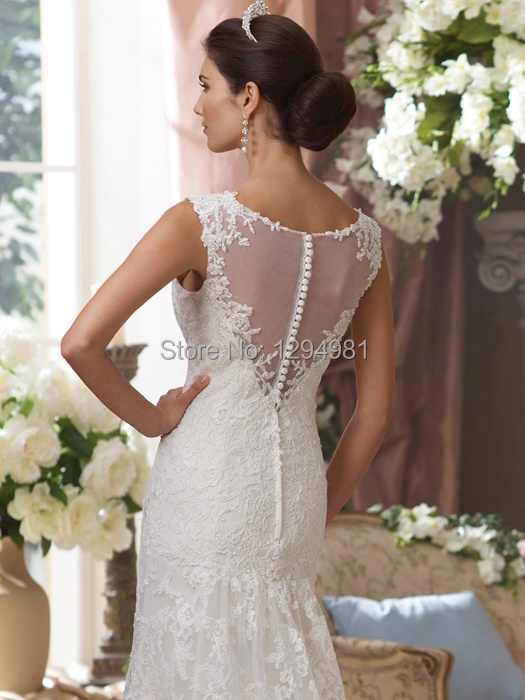 Elegant Ivory Lace Slim A line Wedding Dress Bridal Gown Cap Sleeve ...