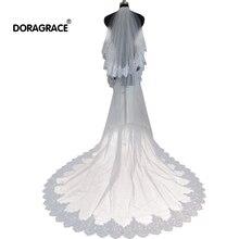 Doragrace Glamorous 2 Layers Long Lace Edge Beaded Wedding Bridal Veils