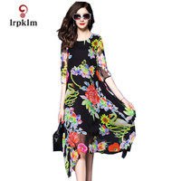 2018 New Fashion Women Summer Dress Silk Ladies O neck Print Dress Women's Party Dresses Three Quarter Print Flower PQ347