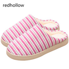Warm Indoor House Slipper Soft Plush Cotton Striped Slippers Shoes Non-Slip Floor Home Furry Slippers Women Shoes For Bedroom kawai girl soldier sailor moon the cat luna bowknot home cotton flannel slipper ma am indoor non slip floor slipper girl s shoes