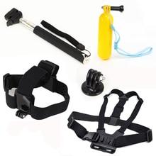 Monopod Tripod Mount Adapter + Float Bobber Handheld Stick + Chest Belt + Head Strap For Gopro Hero four three SJ4000 Equipment