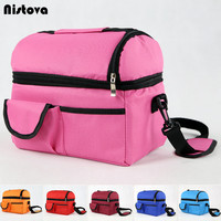 Lunch Box Double Layer Cooler Thermal Leisure Picnic Breast Milk Food Portable Messenger Luggage Bags For