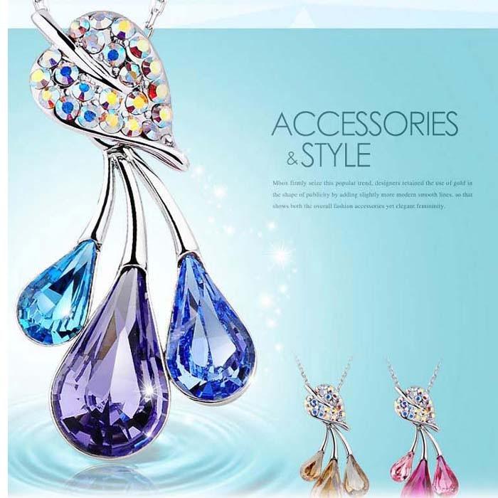 B83 Drop Pendent Necklace woman Fashion Crystal Necklaces wholesale Colors