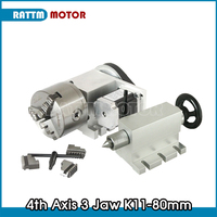 3 jaw chuck 4th Axis K11 80mm CNC dividing head/Rotation Axis & Tailstock for Mini CNC router engraving