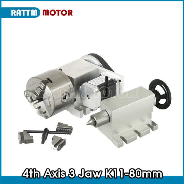 3 jaw chuck 4th Axis K11 80mm CNC dividing head / Rotation Axis & Tailstock for Mini CNC router engraving