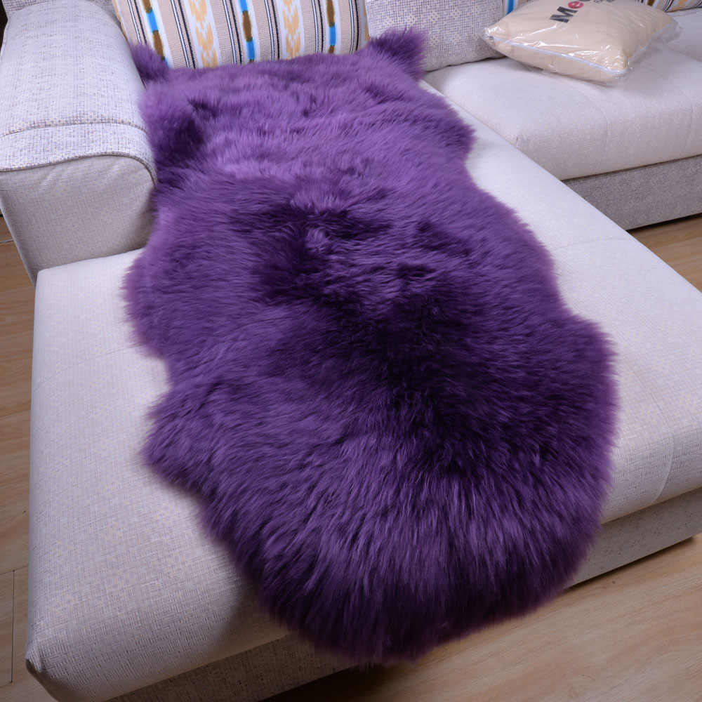 2016 100% véritable laine Pure en peau de mouton tapis pour salon tapis de sol tapis lit couverture personnalisé chambre fenêtres tampons couleur pourpre