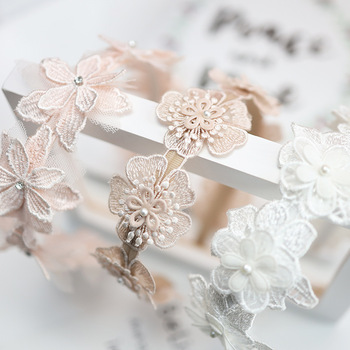 Korea Lace  Flower Crown Head Band Hair Accessories lovely Embroidery Headband for Grils Hair Band Hair Bow Princess 4 plaid knot headbands for women lace headband korea hair accessories hair band flower crown hairbands head wrap