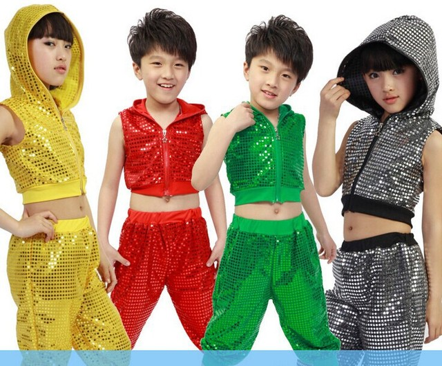 Nuevos niños lentejuelas trajes de baile Hip Hop Girl Boy Jazz Dance stage  performance ropa Top 988c1ad0c4c