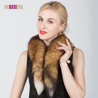 リアルフォックスファーの襟女性コート冬100%天然キツネの毛皮スカーフ襟ファッションナチュラル暖かい毛皮固体襟スカーフ