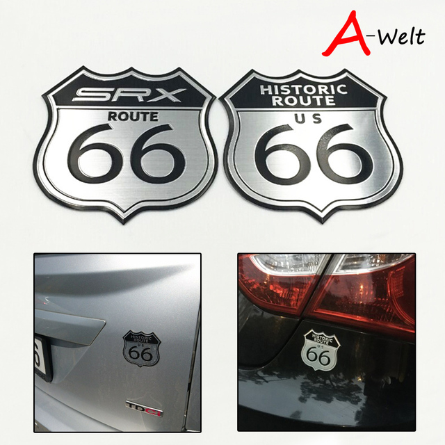 10pcs car sticker styling america us the route 66 road 3d metal logo motorcycle decal body