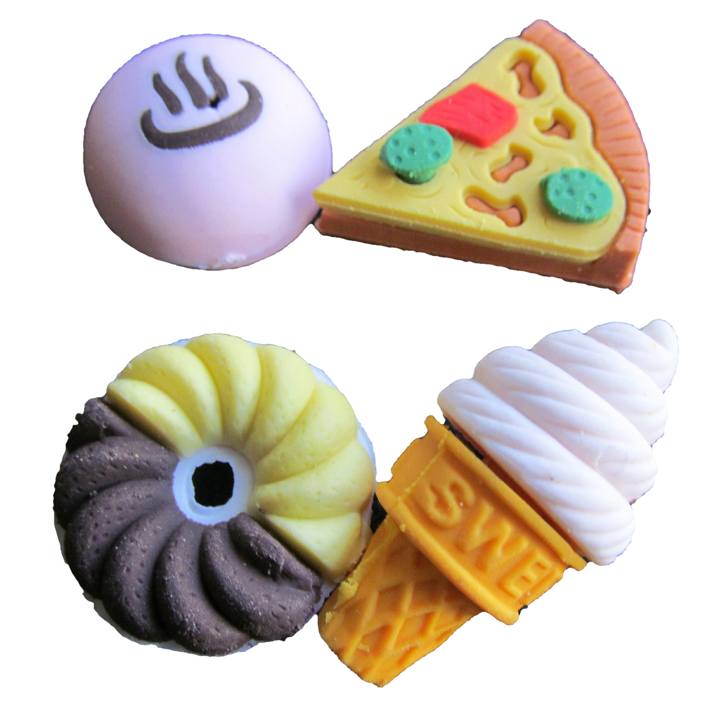Assorted Food Novelty Cute Pencil Rubber Eraser Erasers Stationery Ice Cream Cake Kid Fun Toy