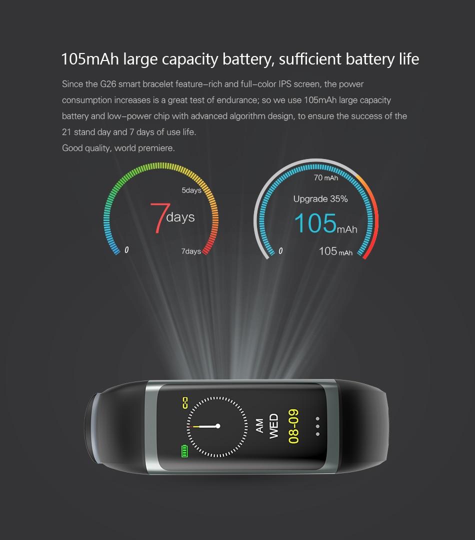 Cerreat G26 Smart Band IP67 Waterproof Heart Rate Fitness Tracker Smart Bracelet with Blood pressure oxygen monitor Color Screen (11)