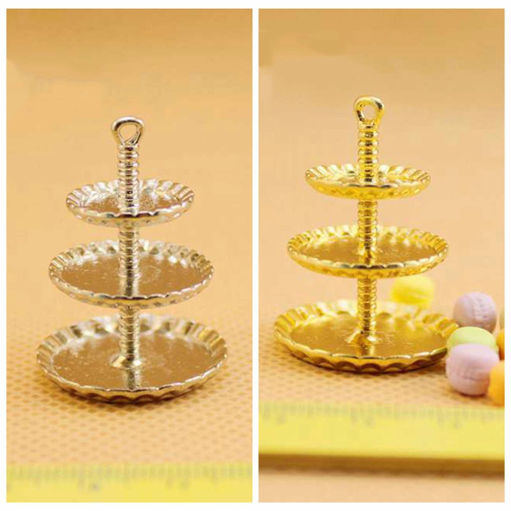 1//12 Dollhouse Miniature Metal 3 Tiers Cake Bakery Cookies Display Stand Gold