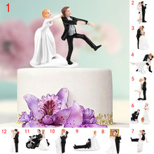 cake topper Elegant Synthetic Resin Bride&Groom Cake Topper Wedding Decoration Figurine Casamento Mariage wed decor cake topper
