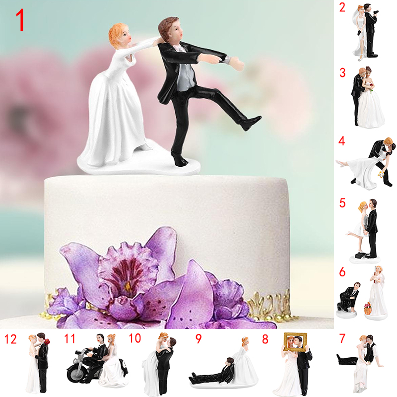 cake toppers Dolls Elegant Synthetic Resin Bride&Groom Wedding Decoration Supplies Stand Figurines Casamento Mariage Funny Marry