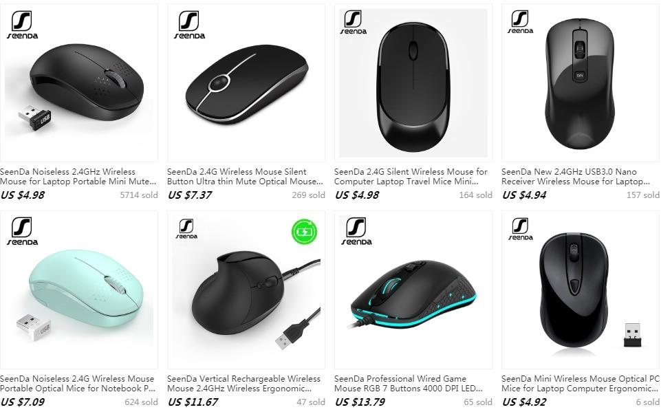 Mouse 2.4G  Wireless Silent Buttons Ergonomic SeenDa Mute Mice Computer laptop