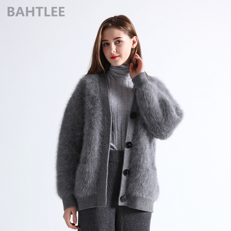 BAHTLEE winter wool knitted women s angora cardigans sweater mink cashmere V neck button pocket thick