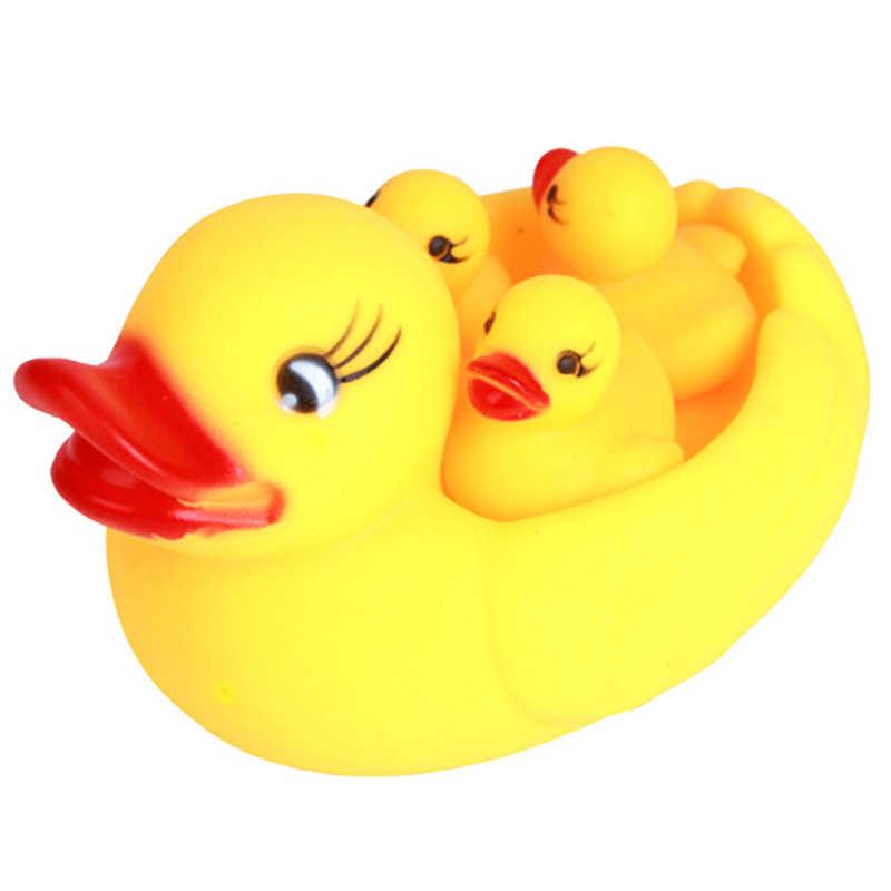 Conjunto de 4 unidades de juguetes flotantes de agua para niños, juguetes de agua de sonido al estrujar, patito de goma amarillo, juguetes de baño para niños, piscina chillona, juguete para bebé