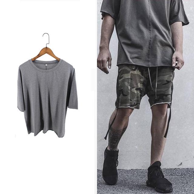 Fashion RO  oversize men t shirts kanye grey cotton t-shirt men new style tees off the shoulder sleeve