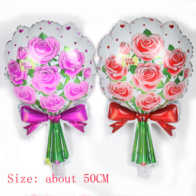 New Red Rose Flower Foil Balloon Happy Birthday Party Wedding Valentines Day Christmas Festival Decoration Mixed