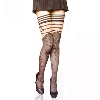 Punk Gothic Knee Lace Stockings Print Striped Sheer Long