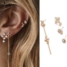 цена на New Earrings 4 pcs Korean TV Star Elegant Crystal Long Cross Drop Earrings For Women Cross zircon set of 4 earrings A40
