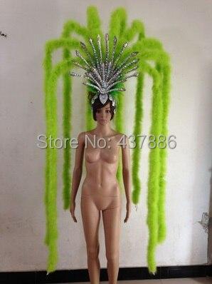 Rose bleu vert bar fête sexe personnage costumes danse costume plume coiffe poignet pour femmes sexy showgirl coiffure - 3