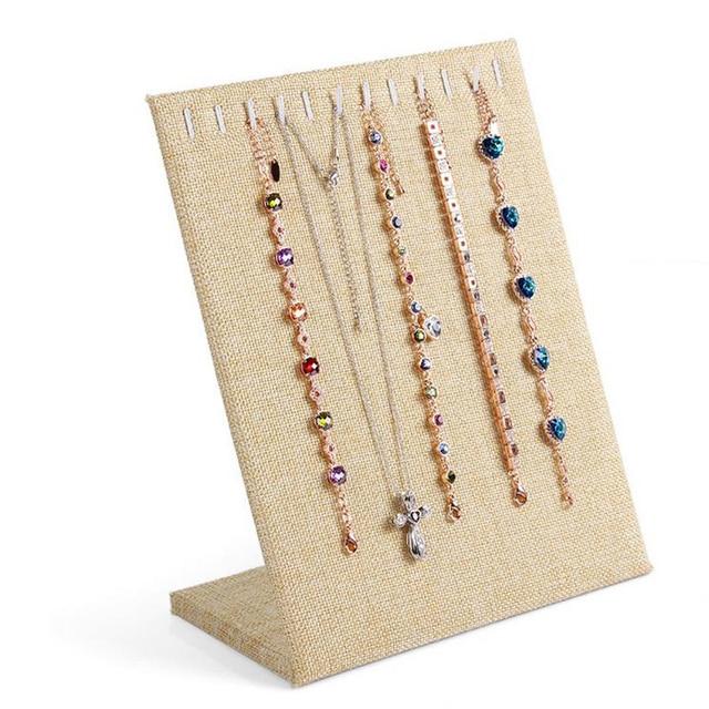 Vente en ligne à la vente le magasin € 5.96 12% de réduction|Lin + bois collier chaîne Bracelet bijoux pendentif  présentoir panneau support Rack décorer pratique bijoux Organzer dans ...