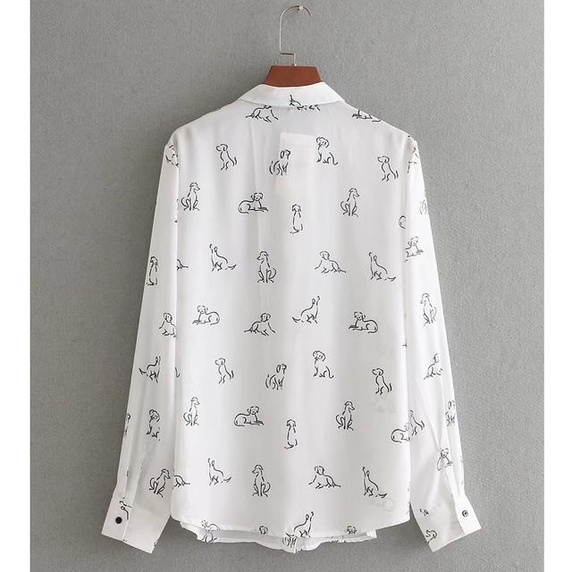 Vintage Dog Patterned Blouse with Bowtie