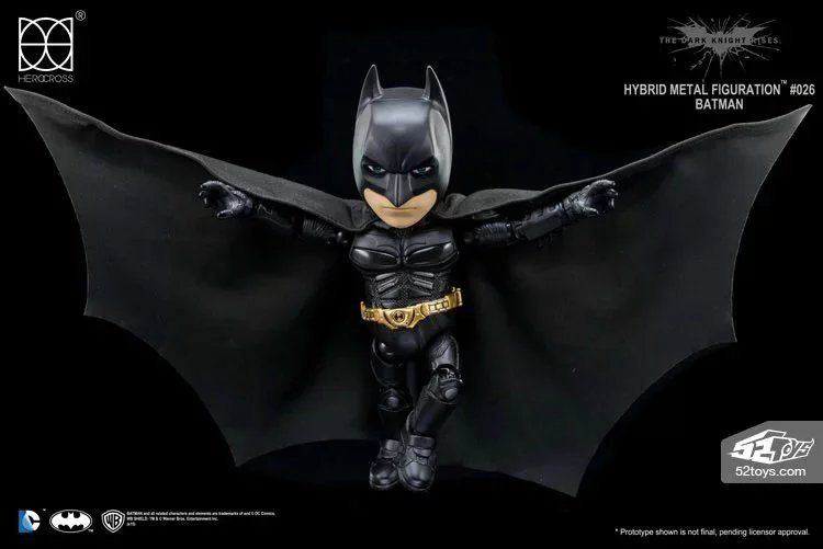 DC Comics The Dark Knight Rises Batman Hybrid Metal Figuration #026 Batman with LED Light Action Figure Collectible Model Toy