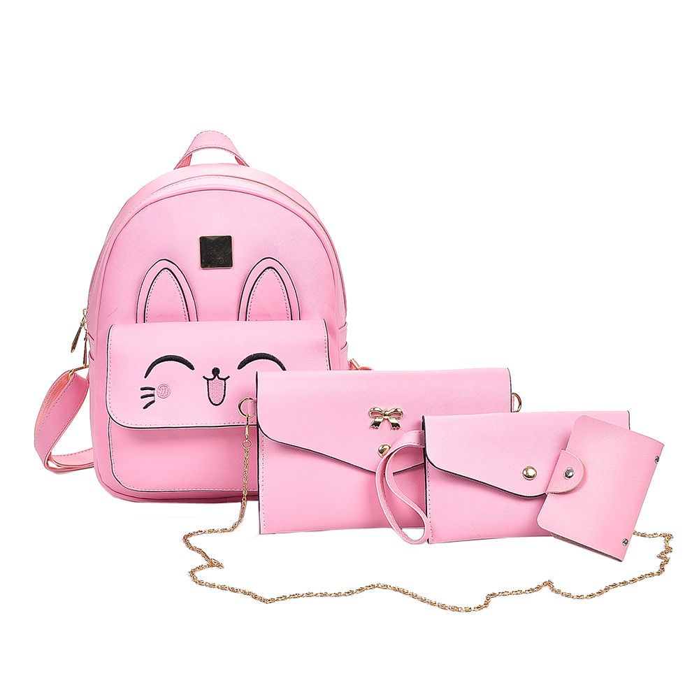 4Pcs Women Pattern Leather Backpack+Crossbody Bag+Messenger Bag+Card Package JUNE7