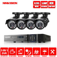 NINIVISION H.265 4CH DVR CCTV System 4 Channel 5.0 MP IR Outdoor Security Cameras 1080P HDMI TVI CCTV DVR 5.0MP Surveillance Kit