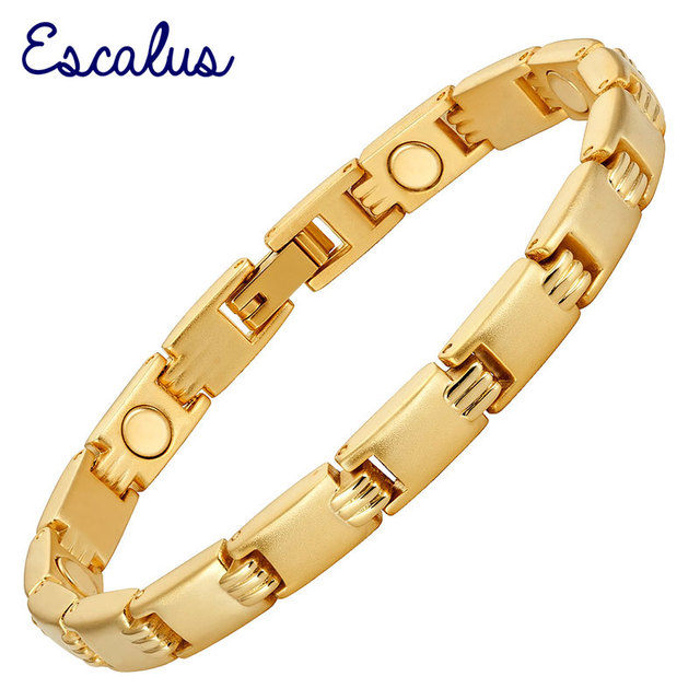Escalus Women Magnetic Gold Color Bracelet Brushed Wristband Healing Bangle jewellery Ladies Gift Magnets Wearing Charm