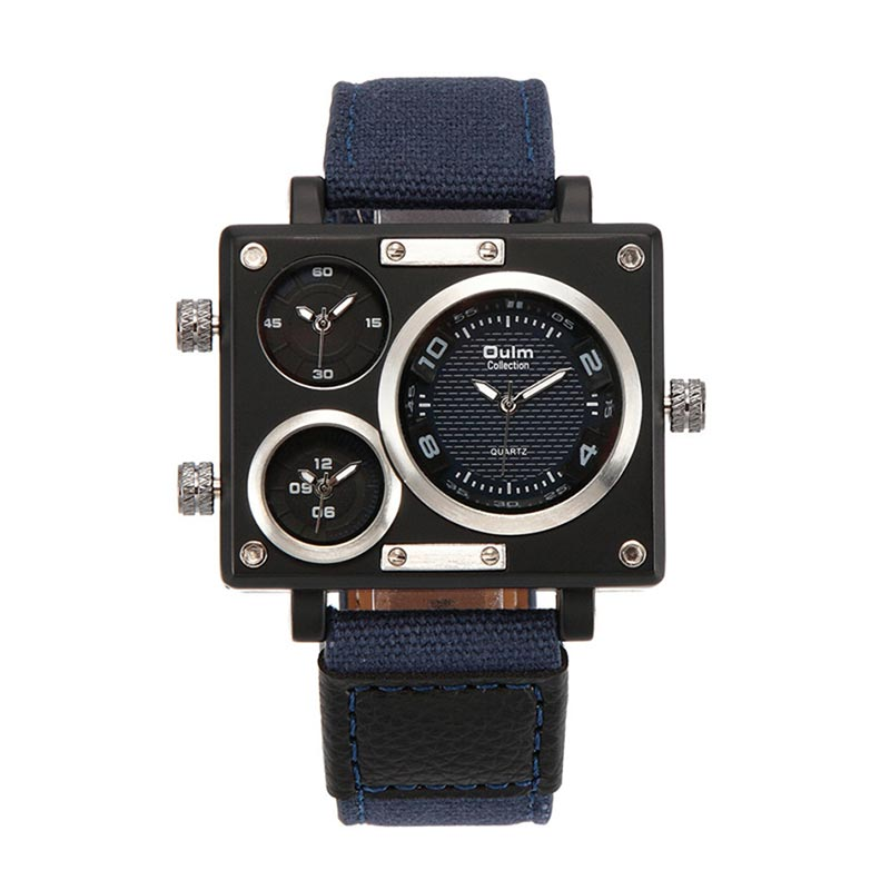 New Timer Man Canvas Srap Quartz-Watch Clock Male Multiple Time Zones Square Sports Watches for Boy Male