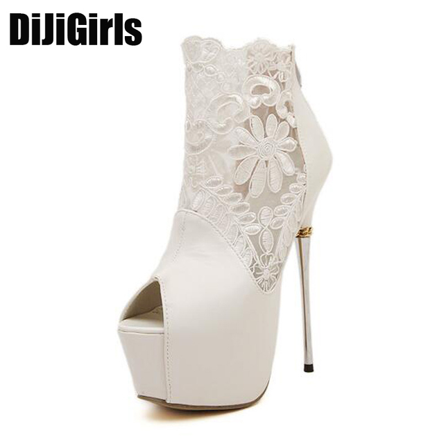 61915aba51d lace summer boots party fashion shoes woman sexy open toe high heels  platform pumps women high